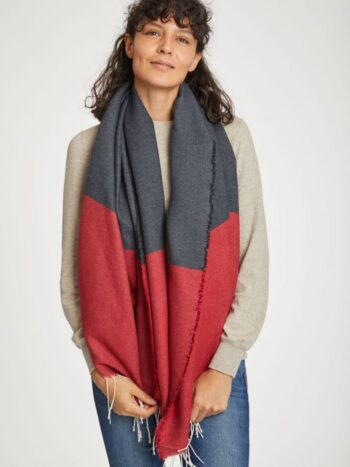 red scarf colour block