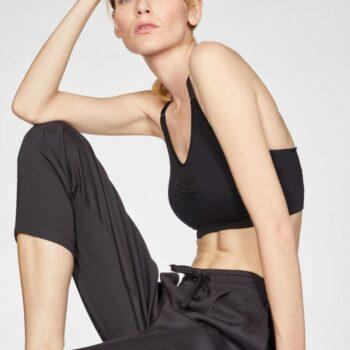 BLACK-Katie-Bamboo-Drawstring-Tailored-Trousers-In-Black-γυναικειο μαυρο παντελονι