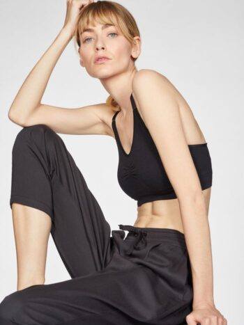BLACK-Katie-Bamboo-Drawstring-Tailored-Trousers-In-Black-γυναικειο μαυρο παντελονι