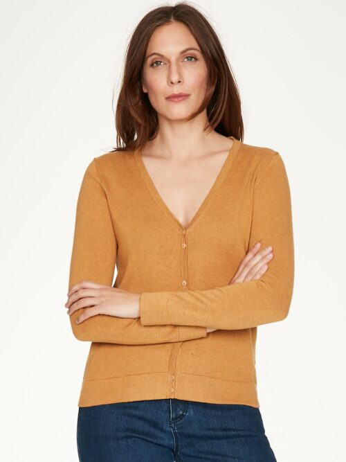 WWT4950-AMBER-YELLOW–Loren-V-Neck-Basic-Organic-Cotton-Cardgian-In-Amber-Organic-Cotton–1