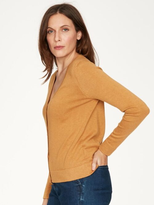 WWT4950-AMBER-YELLOW–Loren-V-Neck-Basic-Organic-Cotton-Cardgian-In-Amber-Organic-Cotton–3