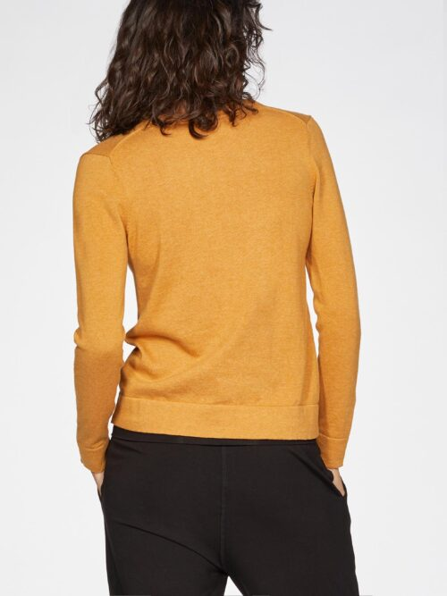 WWT4950-AMBER-YELLOW–Loren-V-Neck-Basic-Organic-Cotton-Cardgian-In-Amber-Yellow-3