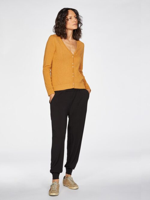 WWT4950-AMBER-YELLOW–Loren-V-Neck-Basic-Organic-Cotton-Cardgian-In-Amber-Yellow-5