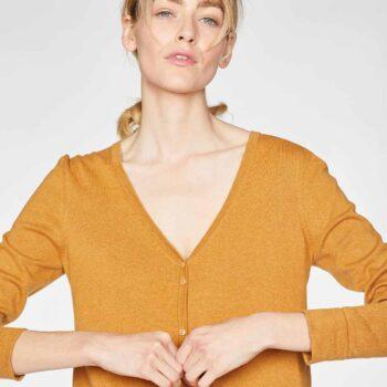 γυναικεια ζακετα-AMBER-YELLOW-Loren-V-Neck-Basic-Organic-Cotton-Cardgian-In-Amber-Yellow-6